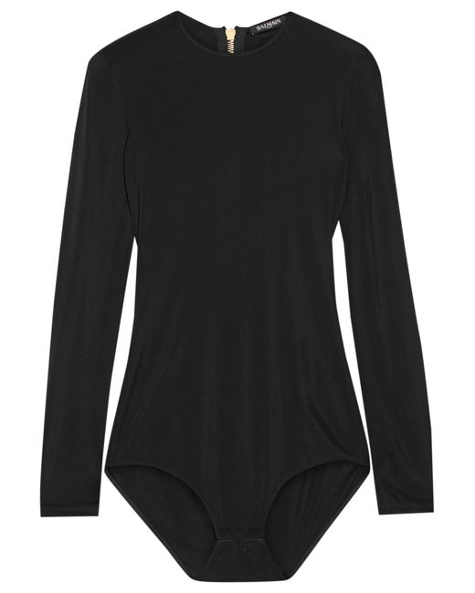 Balmain | Black Stretch-jersey Bodysuit | Lyst