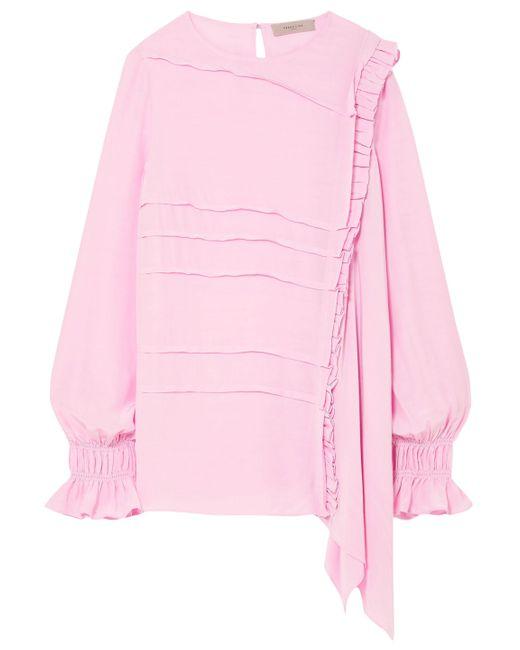 Preen Line Pink Liana Asymmetric Crepe De Chine Top