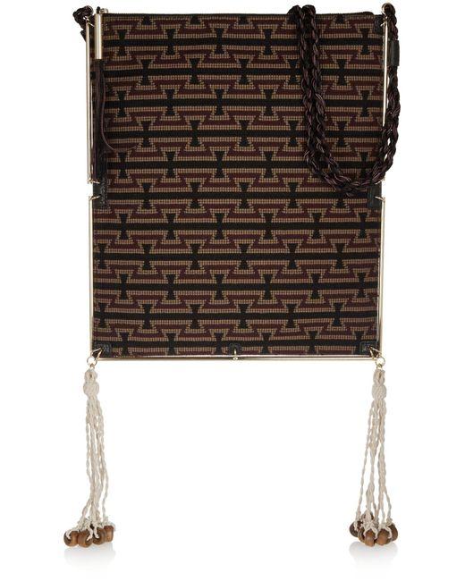 Elizabeth and James | Black Tassel-trimmed Croc-effect Leather And Jacquard Shoulder Bag | Lyst
