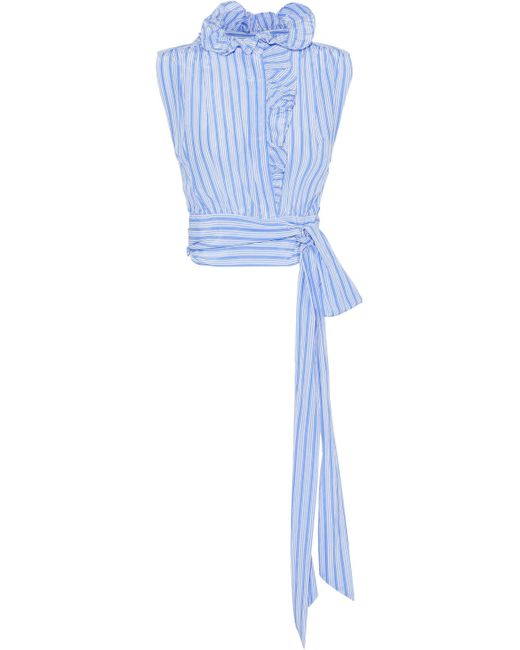 MILLY - Blue Luna Ruffled Striped Silk And Cotton-blend Top - Lyst
