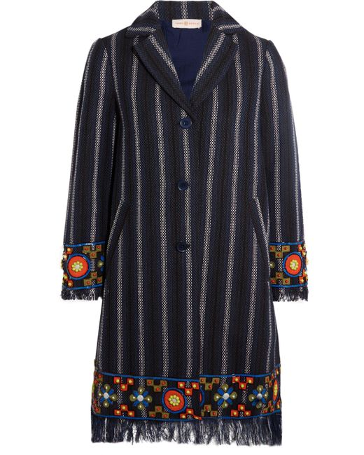 Tory Burch | Blue Embellished Striped Coat | Lyst