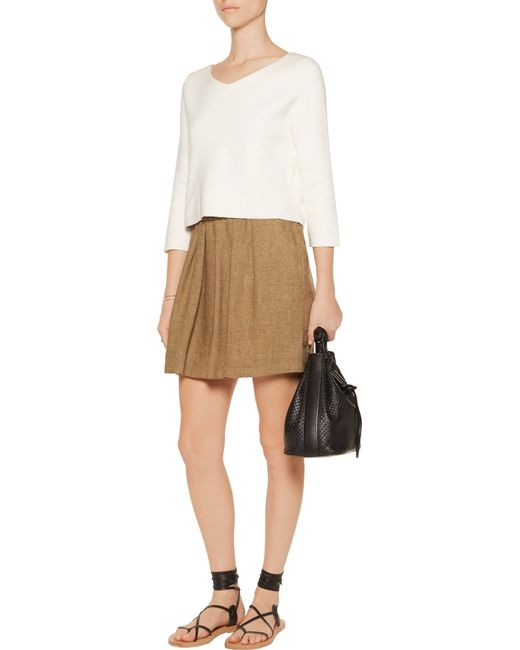 maje pleated linen canvas mini skirt in brown lyst
