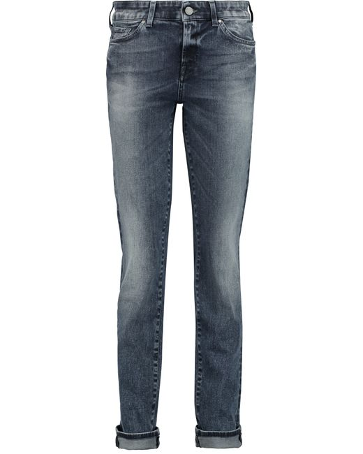 7 for all mankind cristen low rise skinny jeans in blue. Black Bedroom Furniture Sets. Home Design Ideas