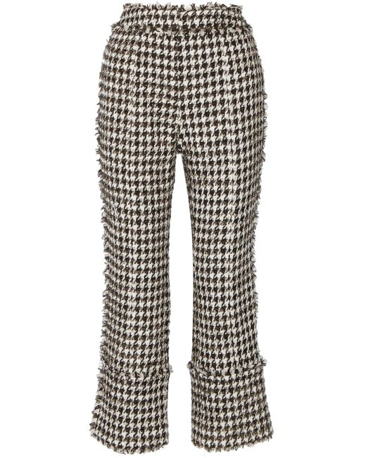 Erdem | Black Verity Straight-leg Hound's-tooth Trousers | Lyst
