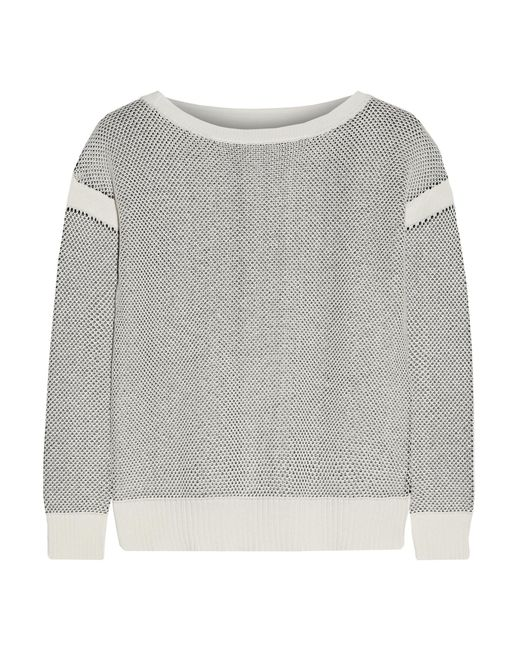 Vince | White Honeycomb-knit Cotton Sweater | Lyst