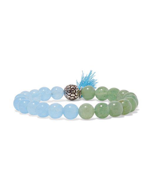 Kenneth Jay Lane | Blue Silver-tone Beaded Bracelet | Lyst