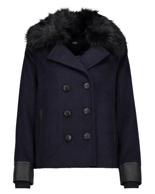 Line   Blue Drew Faux Fur And Leather-trimmed Felt Coat   Lyst