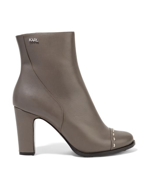 Karl Lagerfeld | Gray Studded Leather Ankle Boots | Lyst