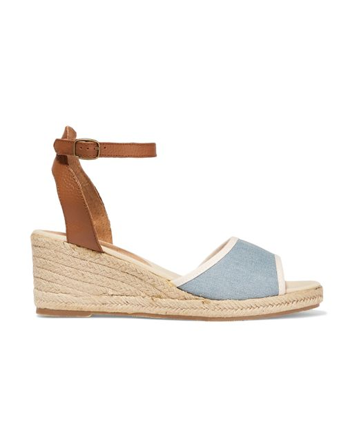 Soludos Leather And Denim Espadrille Wedge Sandals in Blue ...