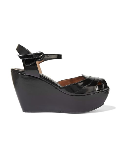 marni patent leather wedge sandals in black save 74 lyst
