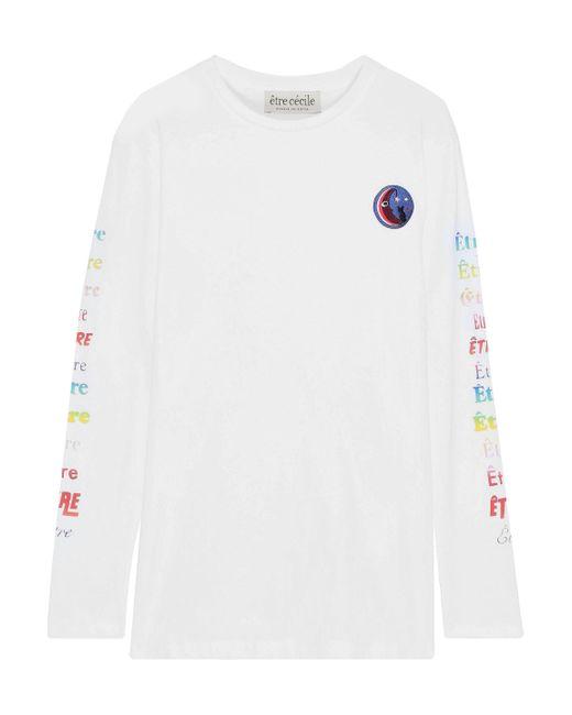 Être Cécile Être Cécile Appliquéd Printed Cotton-jersey Top White