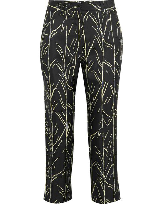 Proenza Schouler | Black Cropped Printed Silk-twill Straight-leg Pants | Lyst