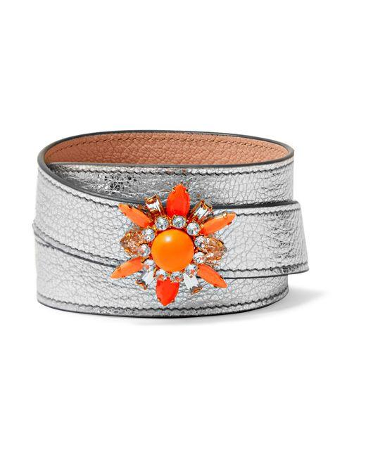 Shourouk | Orange Beedis Textured-leather, Gold-tone And Crystal Bracelet | Lyst