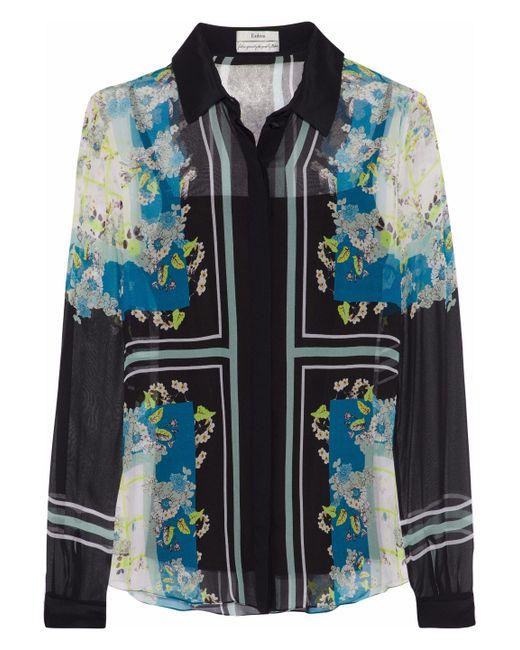 Erdem - Black Sloane Printed Silk-georgette Shirt - Lyst