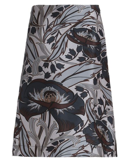 Marni - Gray Floral-print Cotton And Silk-blend Skirt - Lyst