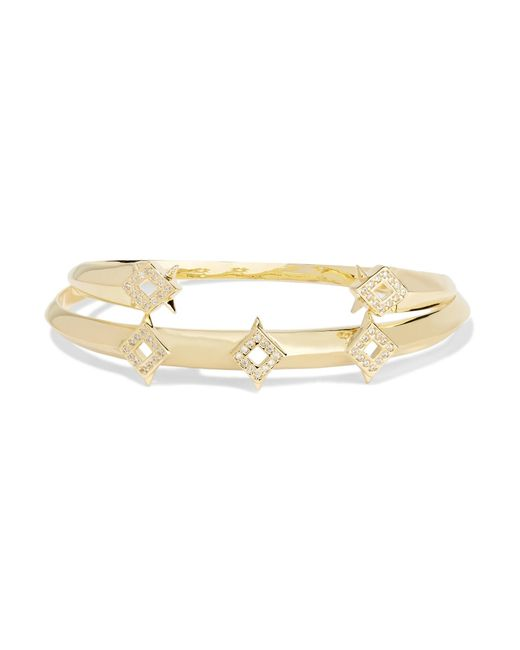 Noir Jewelry | Metallic Sargas Set Of Two Gold-tone Crystal Bangles | Lyst