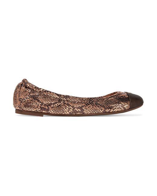 Tory Burch | Black York Metallic Snake-effect Leather Ballet Flats | Lyst
