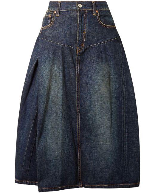 Junya Watanabe - Blue Woman Flared Denim Skirt Dark Denim - Lyst