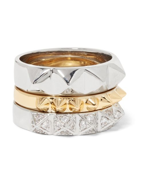 Noir Jewelry   Metallic Set Of Three Gold And Silver-tone Crystal Rings   Lyst