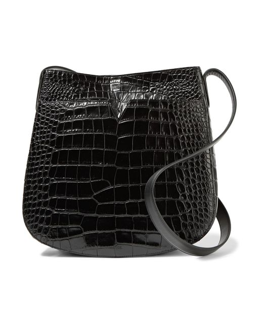 Vince   Black Croc-effect Leather Shoulder Bag   Lyst