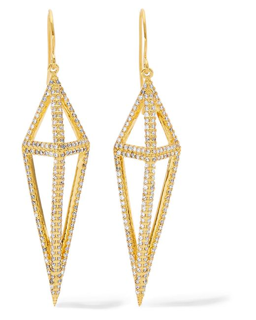 Noir Jewelry | Metallic Montaillou Gold-tone Crystal Earrings | Lyst
