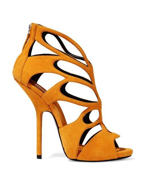 Giuseppe Zanotti | Orange Cutout Suede Sandals | Lyst