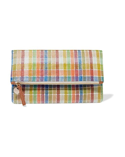 Clare V. | Multicolor Plaid Fold-over Woven Canvas Clutch | Lyst