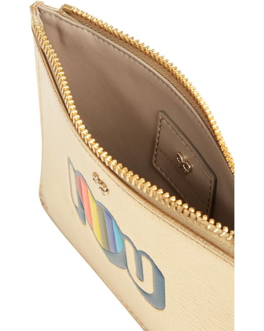 Anya hindmarch I Love You Small Metallic Textured-leather ...
