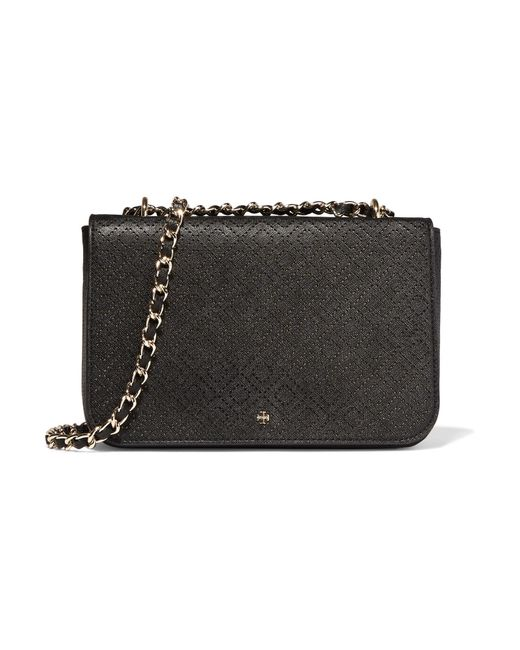 Tory Burch | Black Robinson Perforated Croc-effect Leather Shoulder Bag | Lyst