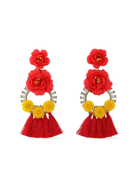 Elizabeth Cole - Woman Embellished 24-karat Gold-plated, Swarovski Crystal And Tassel Earrings Tomato Red - Lyst