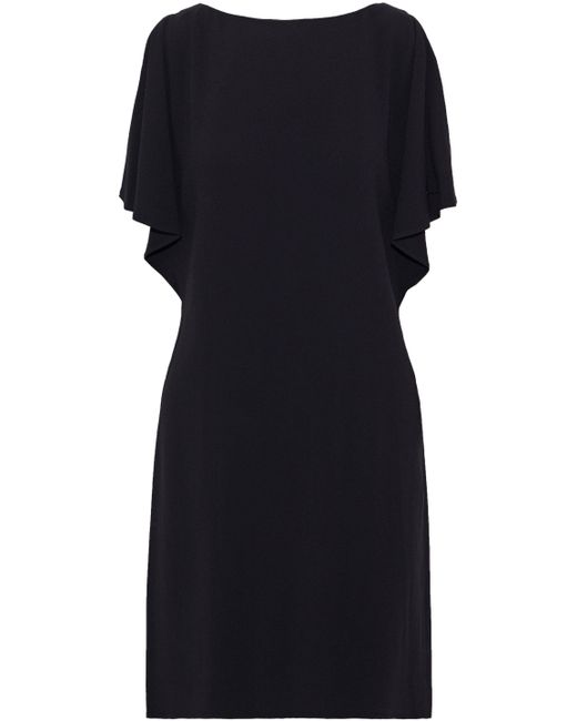 Theory - Woman Draped Crepe Dress Black - Lyst