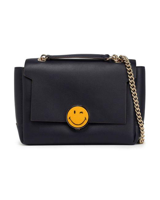 Anya Hindmarch - Blue Smiley Bathurst Leather Shoulder Bag - Lyst