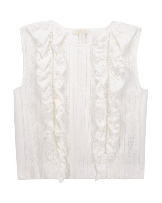Maje | White Ruffled Paneled Open-knit And Cady Top | Lyst