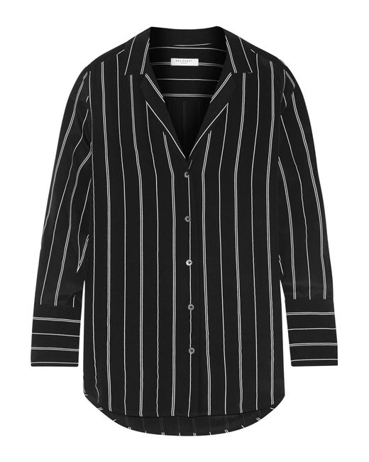 Equipment may striped washed silk shirt in black save 20 for Equipment black silk shirt