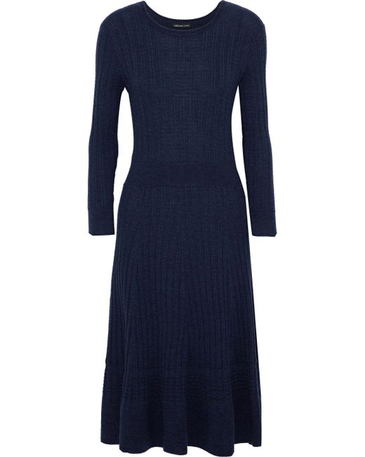 James Perse - Blue Fluted Ribbed Wool Dress - Lyst