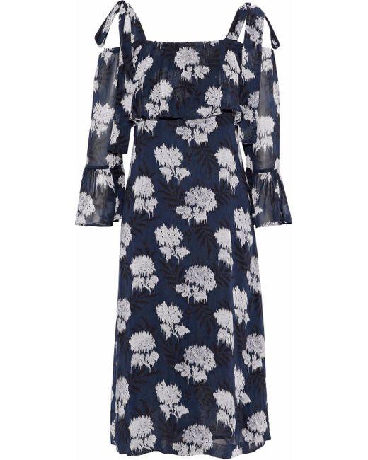 Ganni - Blue Monette Cold-shoulder Printed Georgette Dress - Lyst
