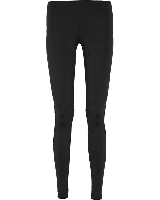Norma Kamali | Black Mesh-trimmed Stretch-jersey Leggings | Lyst