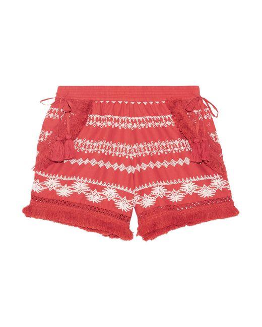 Rachel Zoe | Multicolor Karlene Tasseled Embroidered Cotton-gauze Shorts | Lyst