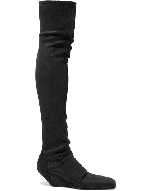 Rick Owens - Black Stivali Textured-leather Thigh Boots - Lyst