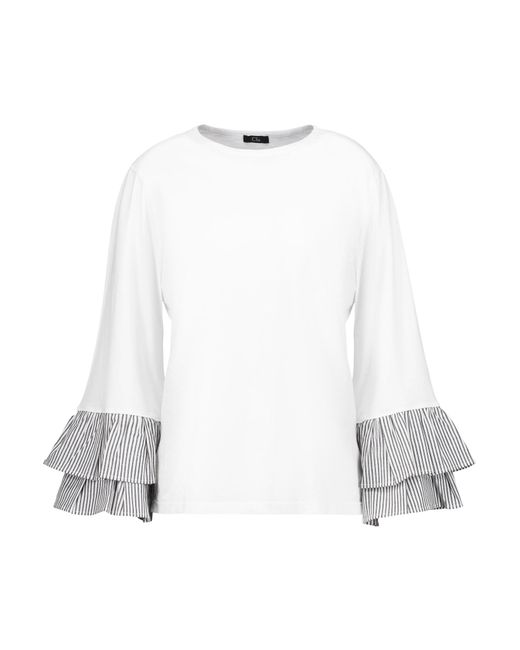 CLU | White Pleated Striped Cotton Poplin-trimmed Cotton-jersey Top | Lyst