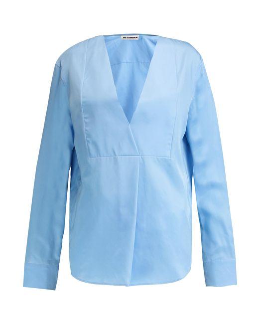 Jil Sander | Blue Pleated Silk Blouse | Lyst