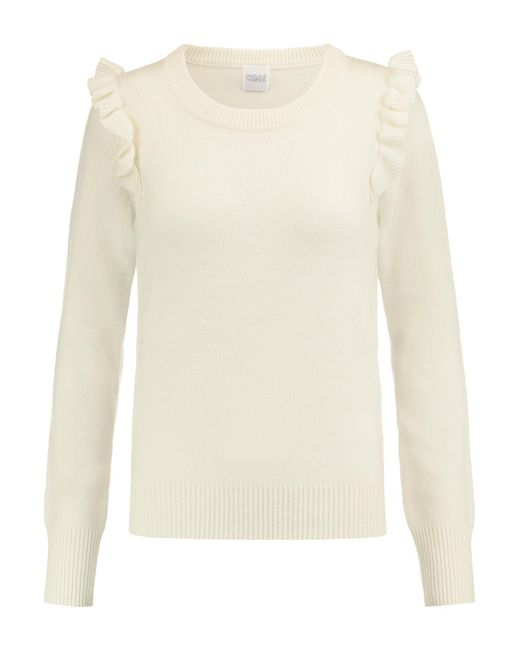 Madeleine Thompson | White Crete Ruffle-trimmed Wool And Cashmere-blend Sweater | Lyst