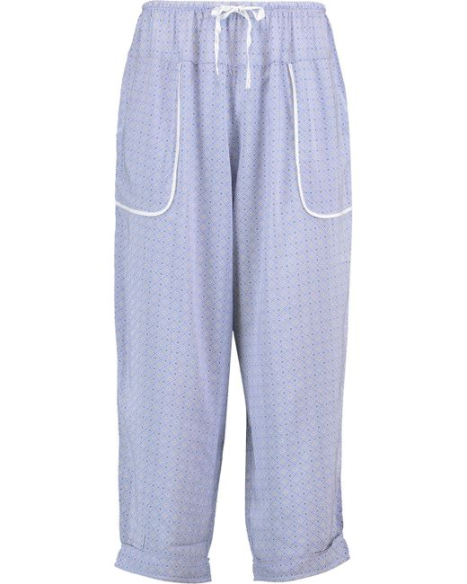 DKNY - Cropped Striped Woven Tapered Pajama Pants Royal Blue - Lyst