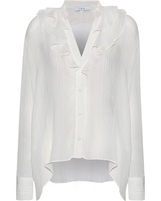 IRO - White Fultim Ruffle-trimmed Metallic Pinstriped Georgette Blouse - Lyst
