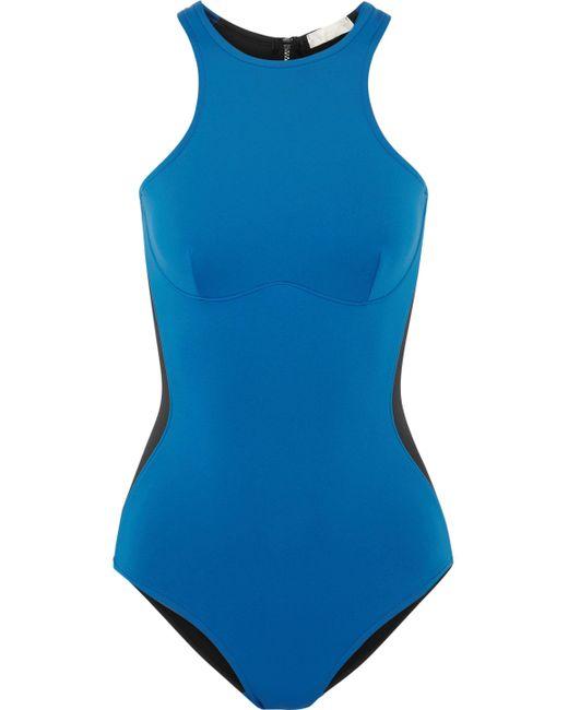 Stella McCartney - Blue Iconic Color Block Swimsuit - Lyst