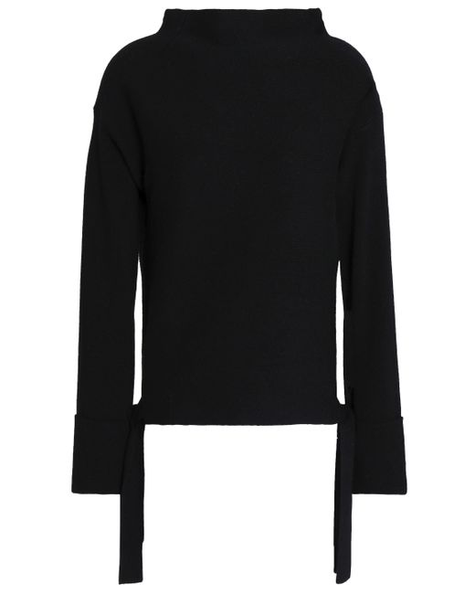 Duffy - Woman Color-block Wool And Cashmere-blend Sweater Black - Lyst