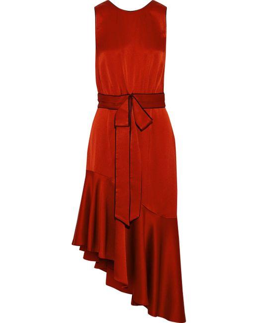 Sachin & Babi - Red Sidney Tie-front Asymmetric Satin Dress - Lyst