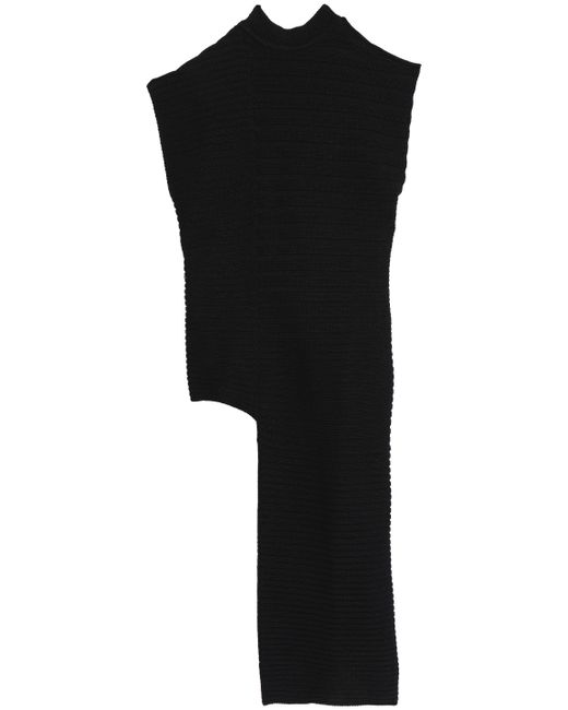 Marni - Black Asymmetric Ribbed Cotton Top - Lyst