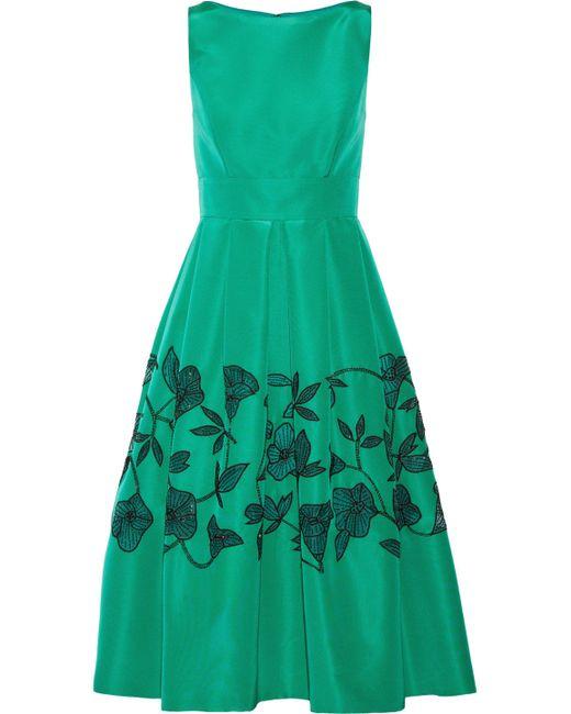 Lela Rose - Green Sequin-embellished Pleated Silk-satin Midi Dress - Lyst
