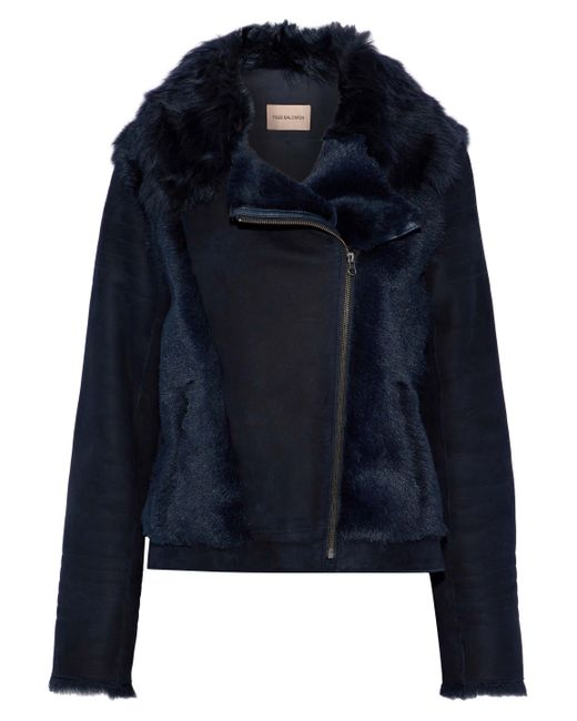 Yves Salomon - Blue Paneled Shearling And Suede Biker Jacket - Lyst